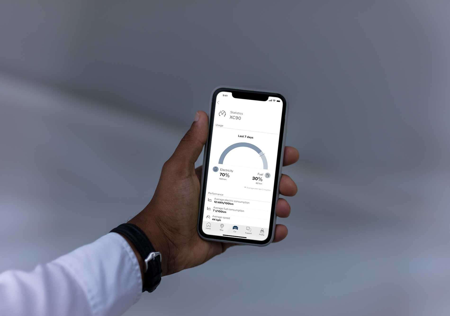 Volvo On Call-smartphoneapp biedt bestuurders van plug-inhybrides inzicht in hun elektrisch rijgedrag